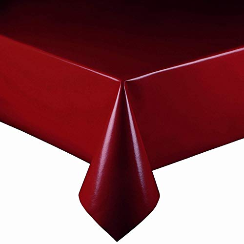 DecoHomeTextil Lacktischdecke Wachstuch Wachstischdecke Tischdecke Gartentischdecke Bordeaux Breite & Länge wählbar 120 x 160 cm Eckig abwaschbar Lebensmittelecht