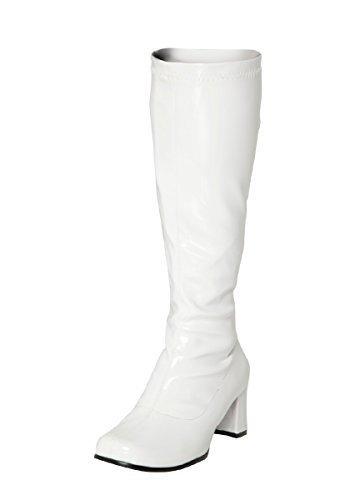Kostüm Kniehohe Stiefel 60s 70s Retro Look GoGo-Stiefel - Weiß Patent, 4