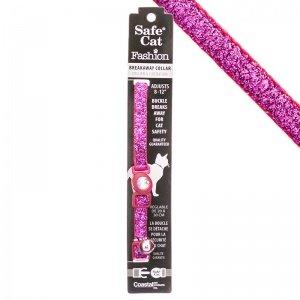 Safe Cat Jeweled Buckle Breakaway Collar W/Glitter Overlay-Pink Glitter-overlay