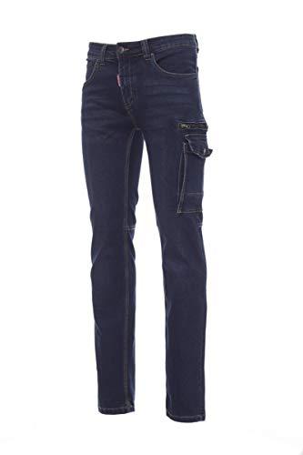 PAYPER West Pantalone da Lavoro Uomo Taglio Jeans Misto Denim Tasche Laterali Chiusura con Zip Porta Metro Smartphone Effetto Consumato delavè Taglie Forti Blu (52)