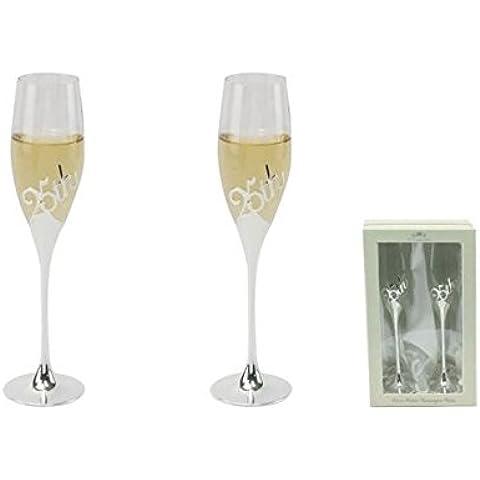 Coppia tostatura 25 ° anniversario della festa nuziale vino Bicchiere di Champagne Flutes Vetro