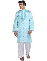 Men's Blue Embroidered Full Sleeve Kurta