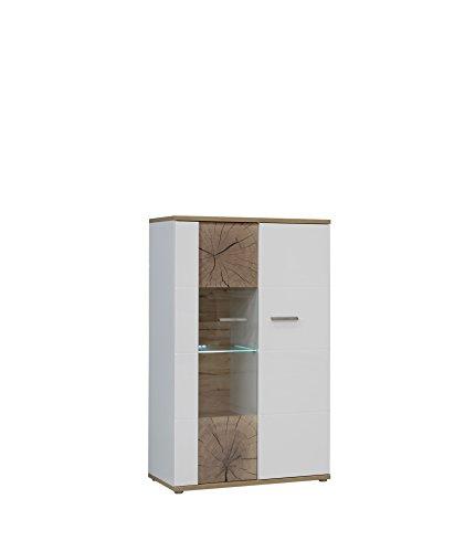 NEWFACE  Vitrine mit Glastür inklusive Weißer Glasbodenbeleuchtung, Holz, Planked Eiche mit Weiß, 85.10 x 41.30 x 198.30 cm