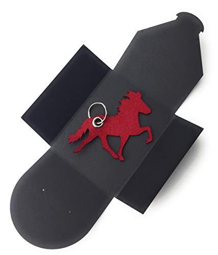 Schlüsselanhänger aus Filz - Island-Pferd/Reiter - Bordeaux/dunkel-rot/Wein-rot - als Geschenk, Glücksbringer mit Öse und Schlüsselring - Made-in-Germany -