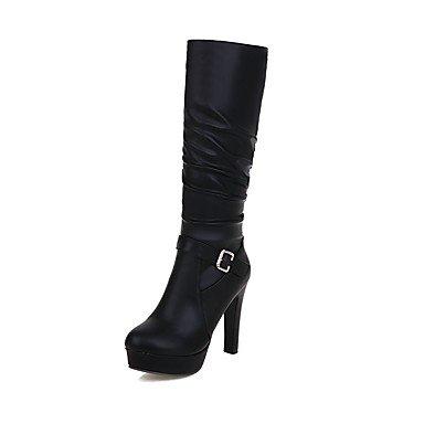 Wuyulunbi@ Scarpe Donna Moda Invernale Stivali Stivali Stiletto Heel Round Toe Ginocchio Alti Stivali Fibbia Ruffles Zipper Per Party Noi6.5-7 / EU37 / UK4,5-5 / CN37