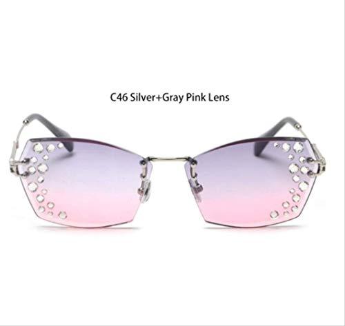 shengbuzailai Randlose Rechteck Sonnenbrille Mode Frau Strass Farbverlauf Sonnenbrille grau rosa Schattierungen lila Brille 7