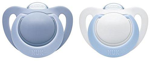 NUK 10175180 Genius Silikon-Schnuller, kiefergerechte Form, 0-6 Monate, 2 Stück, Boy, blau