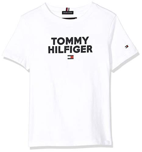 Tommy Hilfiger Logo tee S/s Camiseta, Blanco (Bright White 123), 104 (Talla del Fabricante: 4) para Niños
