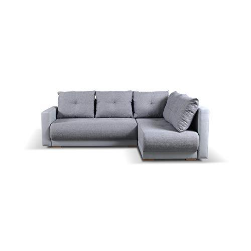 mb-moebel Ecksofa mit Schlaffunktion Eckcouch mit Bettkasten Sofa Couch Wohnlandschaft L-Form Polsterecke Pella (Grau, Ecksofa Rechts)