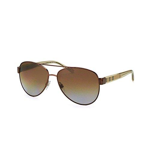 Burberry Unisex BE3084 Sonnenbrille, Gestell: Brushed Brown, Gläser: braun-verlauf polarisiert 1212T5), Large (Herstellergröße: 57)