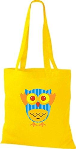 ShirtInStyle Jute Stoffbeutel Bunte Eule niedliche Tragetasche Owl Retro diverse Farbe, gelb