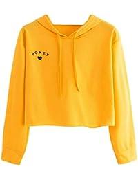 3d54293513521b Webla Pullover Damen Brief Honey Druck Kapuzenpullover Hoodie - Frauen Langarm  Sweatshirt Bluse Tops,Gelb