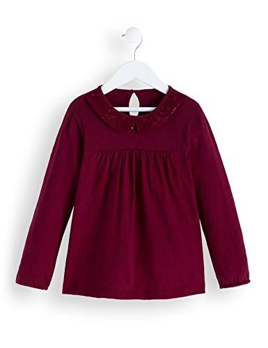 RED WAGON Mädchen Sequinned Collar TOP Langarmshirt, Rot (Burgandy), 104 (Herstellergröße: 4)