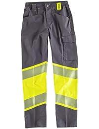 WorkTeam Pantalón de Tejido Elástico Multibolsillos, Alta Visibilidad y Combinado con Cintas Reflectantes Discontinuas.