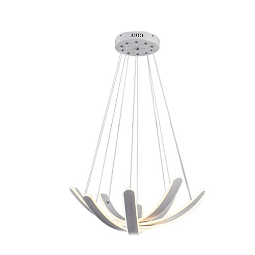 48W LED Modern Acryl Pendelleuchte Kreative Warmweiß Esszimmer 1000MM Hängeleuchte Höhenverstellbar Pendellampe Hängeleuchte luxuriöse Schmiedeeiserne Farbe Schöne Blütenblätter Hängelampe Ø600MM (5 Wohnung Blütenblatt)