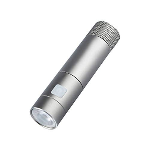 LED Fahrradlicht, Fozela Fahrradbeleuchtung Set mit Halterung, USB Aufladbar, Wasserdicht Fahrradlampe/ Fahrradlicht mit 5 Licht-Modi für Sicheres Radfahren(Silver, 200LM)
