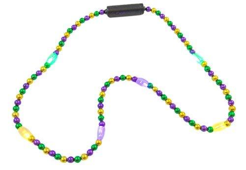 MODEOR Mardi Gras Flashing LED Light Up Perlenkette in den Farben Golden, Lila & Grün (Farben Gras Mardis)