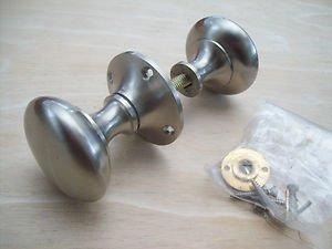 Ironmongery World Round Mushroom Satin Nickel Rim Door Knobs Lock Latch Pull ...