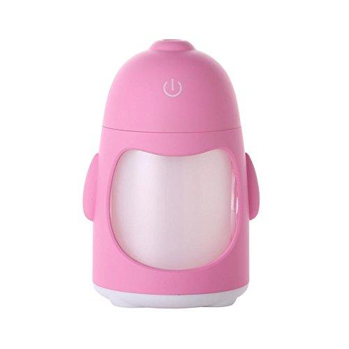 YL Humidificador Colorido Mini Colorido Del Humo Del Pingüino de la Noche de Usb Aire Limpio Creativo Humidor Casero,Rosado