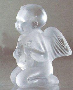 Lalique / Sculptures - Nues & Statues / Motif angelot lyre / angelo con lyra / cristallo