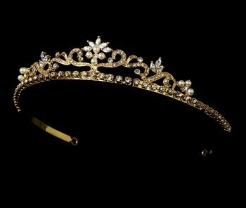 Laure Royal Rhinestone Wedding, Quinceanera, Sweet 16, Pageant Tiara (gold) by Fairytale Bridal Tiara