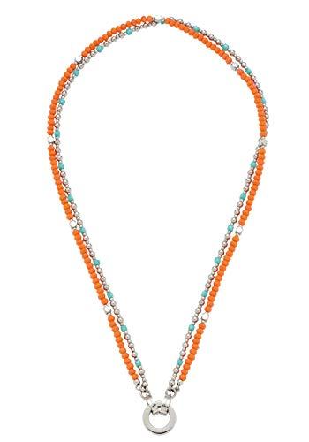 JEWELS BY LEONARDO DARLIN\'S Damen-Halskette Corallo, Edelstahl mit mehrfarbigen Schliffglas-Perlen, CLIP & MIX System, Länge 450 mm, 016822