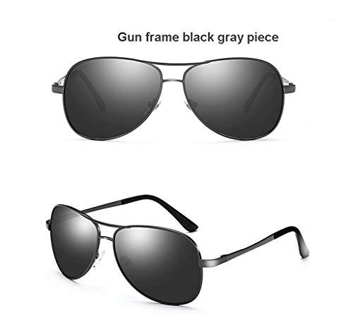 MAGF HD Nachtsicht Farbwechsel Herren Polarisiert Fahren Spezielle Sonnenbrille Flut Fahrspiegel Fahrerspiegel (Color : Gun Frame Black Gray Piece)