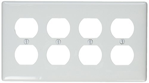 4-gang Wall Plate (Hubbell Wiring Systems NP84W Nylon 4-Duplex Receptacle Wall Plate, Standard Size, 4 Gang, 8-5/16 Width x 4-5/8 Height x 1/16 Thick, White by Hubbell Wiring Systems)