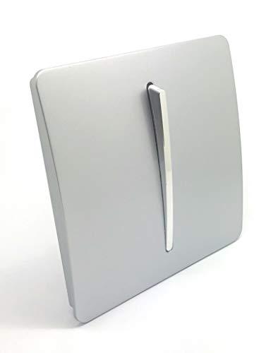 Trendi Switch - Artístico y Moderno Interruptor Basculante de Luz de 1 Botón y 2 Vías de 10 Amp en Color Plateado Brillante
