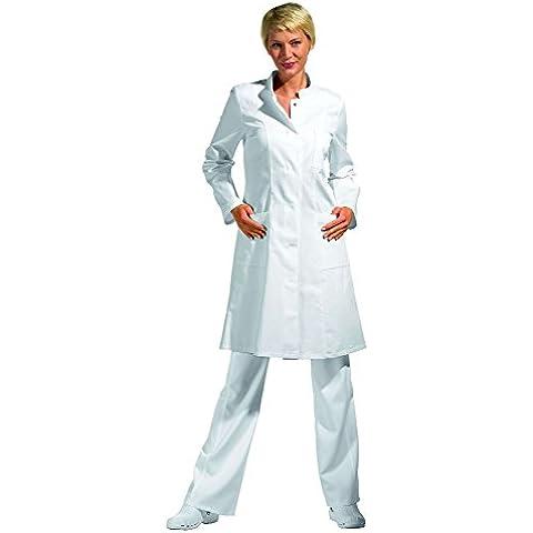 Bata corta de señora, blanco, manga larga, algodón