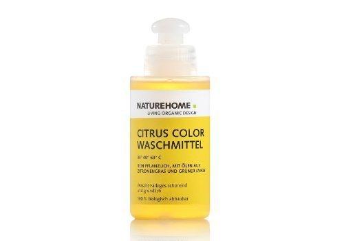 NATUREHOME Bio-Waschmittel flüssig I Reise- & Probierflasche I ideal für Buntwäsche I VEGAN I Color-Waschmittel mit natürlichem Zitrone-Minze-Duft I 120 ml