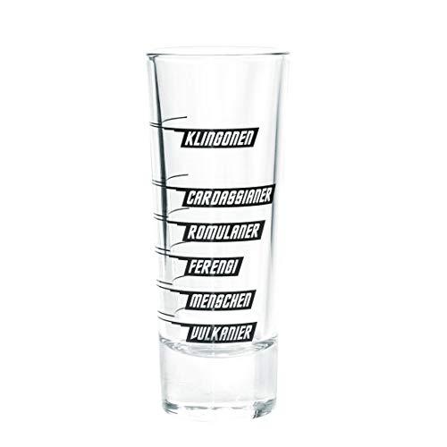 getDigital 2er Set Intergalaktisches Alkohol-Messglas - Ausgefallene Geek Schnapsgläser mit den Toleranzgrenzen verschiedener Star Trek Völker - 4 cl : 2 Gläser