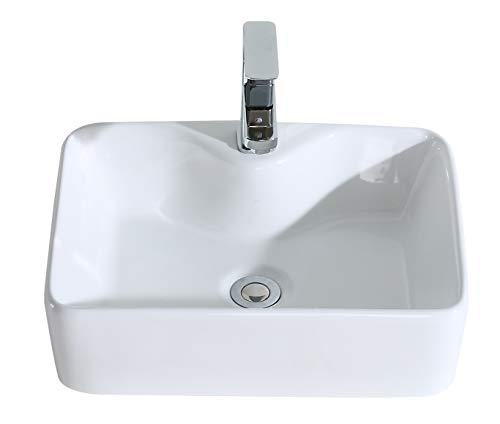 Eridanus serie rufus-02, lavabo di ceramica bianco lusso lavandino lavello lavamano lavabo da appoggio rettangolare quadrato bacinella lavandino lavello per bagno casa bidet lavabo