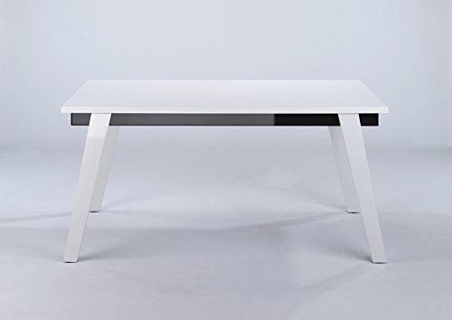 CAVADORE Esszimmertisch STEVEN / Esstisch in modernem Design / Hochglanz Weiß / Zarge in Hochglanz