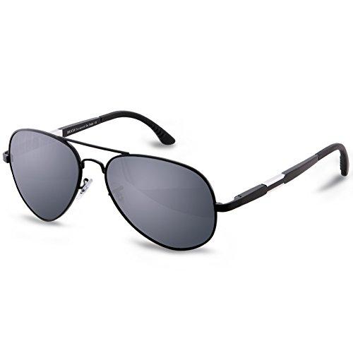 DUCO Unisex Fliegerbrille Polarisierte Sonnenbrille, Pilotenbrille mit Federscharnier, Etui und Putztuch, 3026 (Negro)
