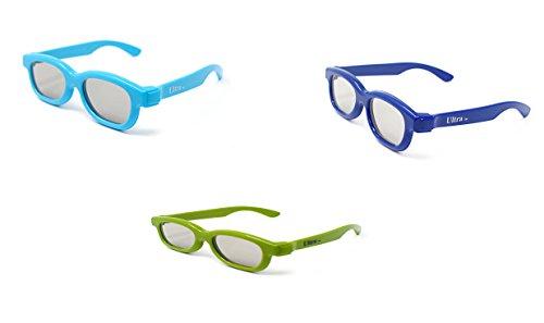 Mischfarben 3 Paare von Childrens Passive 3D Brille zwei blaue und eine grüne für Kinder universell für Passive TV Kino und Projektoren wie RealD Toshiba LG Panasonic und vieles mehr - Universal-projektor-3d-brille