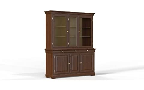 Selva SPA Epoca Mirabeau 8029853000991 Wood China Cabinet Classic and Elegant with Cherry Finish, 178 x 50/ 215 cm, 2-Piece,
