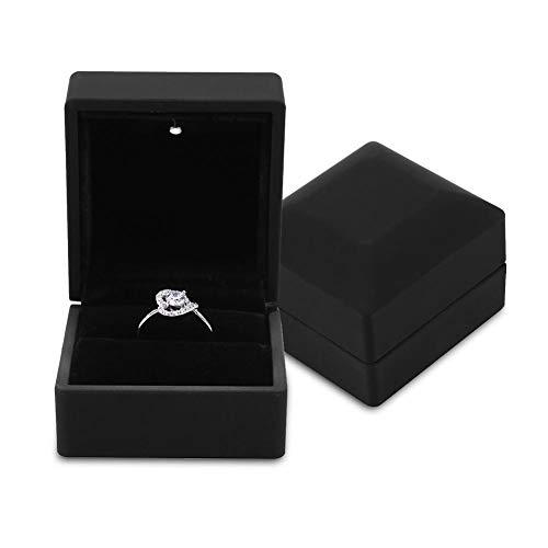 Schmuck Geschenkbox mit LED-Licht, Schmuckkästen für Ring Ohrring Halskette Armband, Display Aufbewahrungskoffer für Hochzeitsantrag Engagement, Universal Verpackung Schmuckschachtel(Ring)