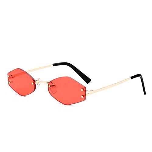 YLNJYJ Randlose Sechseck-Sonnenbrille-Frauen-Markendesigner-Retro- Sonnenbrille-Weinlese-Weibliche Schatten-Kleine Rahmen-Damen-Rote Sonnenbrille