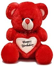 Mayki's 2 Feet Happy Birthday Gift Soft Toy Teddy Bear with Heart (Red)