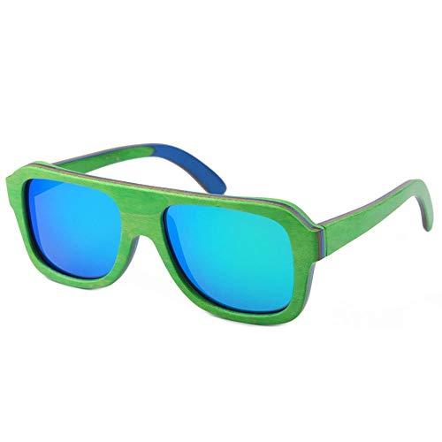 GY-HHHH Umweltfreundliche Sonnenbrille mit Naturholzrahmen - polarisierende Sonnenbrille - Radsport-, Sport- und Urlaubsbrille - UV-Schutzgrün