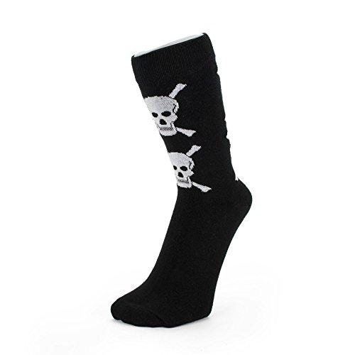 Schwarz mit weißen Schädel Knöchel Socken (Größe: 6-11) (Totenkopf-socken Schwarze)