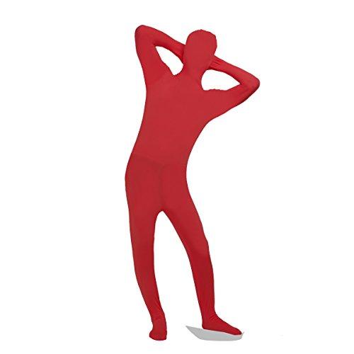 iEFiEL Ganzkörperanzug Herren Body Ganzkörper Suit Catsuit Overall Erwachsene Kostüm Kostüme Rot (Kostüme Herren Spandex)