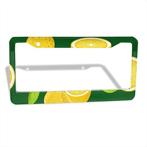 FunnyCustom License Plate Frame Yellow Lemon Amazing Aluminum License Plate Set Metal Tag Holder 12 x 6 Inch 2 Packs