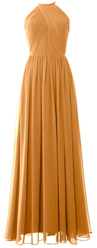 MACLoth Women Halter Long Bridesmaid Dress Chiffon Formal Gown with Open Back Gold
