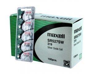 100 pc Maxell SR527SW SR64 319 SR527 Silver Oxide Watch Battery by Maxell 319 Silver Oxide Watch Battery
