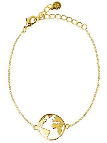 VIASOUL Armband für Damen I Weltkarte mit 585er Gold überzogen I Die Original Weltkugel Kette (Gold)