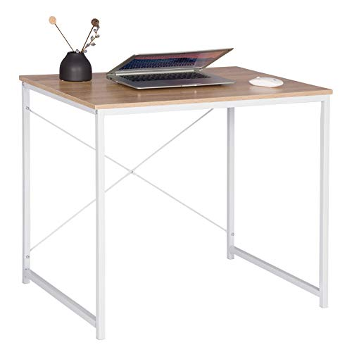 WOLTU Bureau d'ordinateur Table de Travail en Bois et Acier Table de Bureau, 80x60x70cm, Blanc+Chêne Clair, TSB03whe