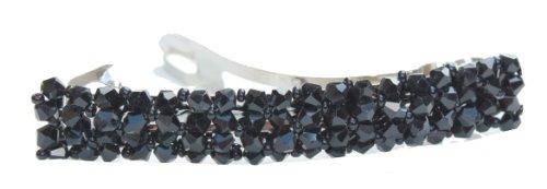 Strass Cristal rectangulaire pour barrettes clips à cheveux pour mariée Noir
