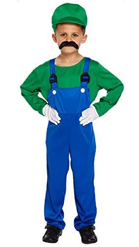 Jungen Kinder Mario oder Luigi Klempner 1980s Jahre Büchertag Halloween Kostüm Kleid Outfit 4-12 Jahre ( 4-6 Jahre, Grün)
